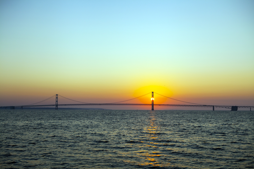 Long Bridge On Summer Sunset